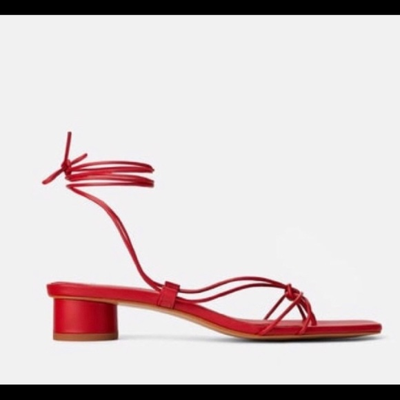 Red Zara lace up sandals